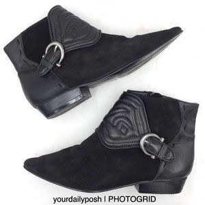 Black Zara embossed leather western ankle boots 36